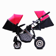 High Quality Twins Baby Stroller Aluminum Folding Pram Twins Shockproof Solid Wheel High Landscape Strollers for