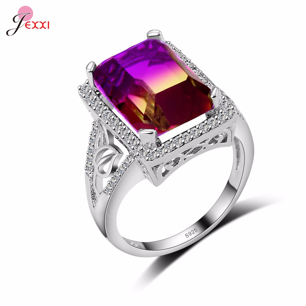 345c6ca11567 Cheap JEXXI Venta caliente rectángulo Cristal Arco Iris Anillos de boda para  las mujeres joyería de