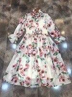 New 2018 Pink Rose Print Silk Chiffon Summer Dress Cute Ruffles Turtleneck 3 4 Sleeve Elegant
