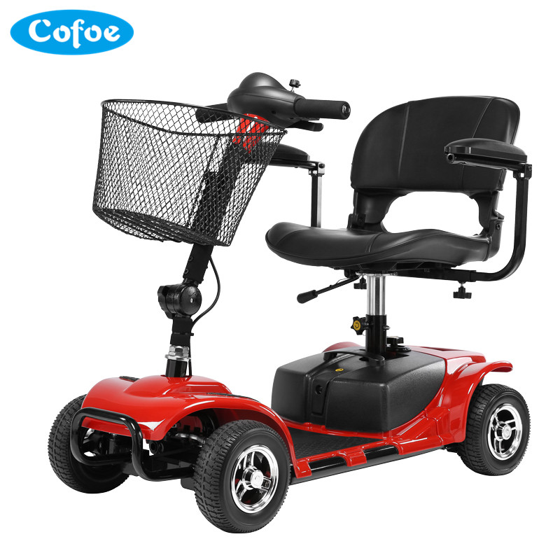 Cofoe Old People Electric Wheelchair Folding Portable Thicken Cushion Scooter Four Wheeler for the Aged the Disabled Red Blue the little old lady in saint tropez