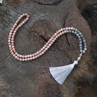 8mm labradorite, japamala colar, meditação mala, namaste yoga jóias, chakra pedras mala, budista grânulo de oração, 108 mala contas