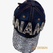 Wholesale 2015D6 cotton bling bling Rhinestone man made diamOnd MIAMI LETTER denim baseball caps SNAPBACK