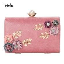 купить Evening Clutch Bags Flower Female Wedding Bag Metal PU Party Bag 2 Colors BG-048 дешево