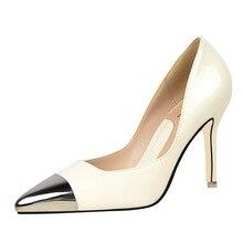 2017 frühling Mode Schuhe Frau Candy Farbe Spitz Flach Mund Dünne Fersen Lackleder Okzident Stil Reizvolle Pumpen