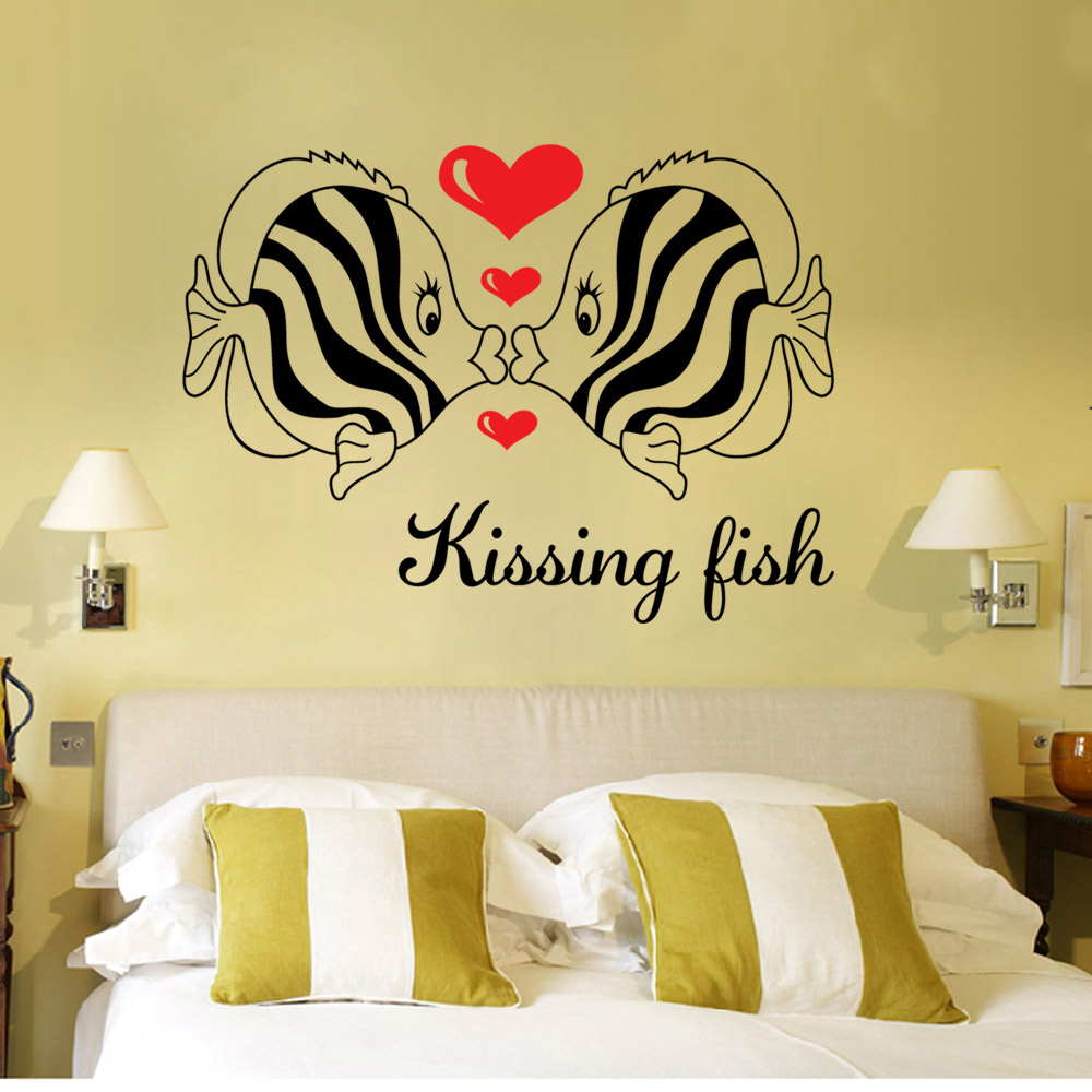 Free Shipping DIY Wall Art Decal Decoration kissing fish love Wall ...