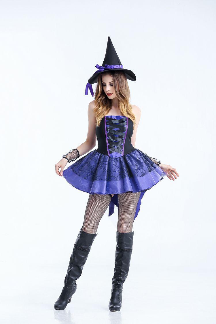Хэллоуин ведьмы смокинг Платье черного цвета для взрослых женские пикантные Косплэй кост ...