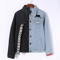 lyfzous Left black right blue denim jacket women letter Ribbon Contrast color jean jacket female slim coat womens denim jackets