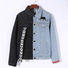 lyfzous Left black right blue denim jacket women letter Ribbon Contrast color jean female slim coat womens jackets