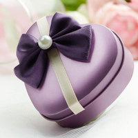 10pcs Wedding Event Lovely Cookie Tin Box With Pearl Accessories Heart Shape Candy Packing Case Color