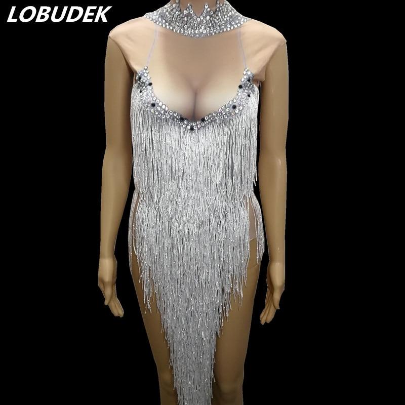 Sexy Women Dancer Ballroom Modern Dance Costume Singer Bar Nightclub DJ Show Stage Outfit Sparkly Rhinestones