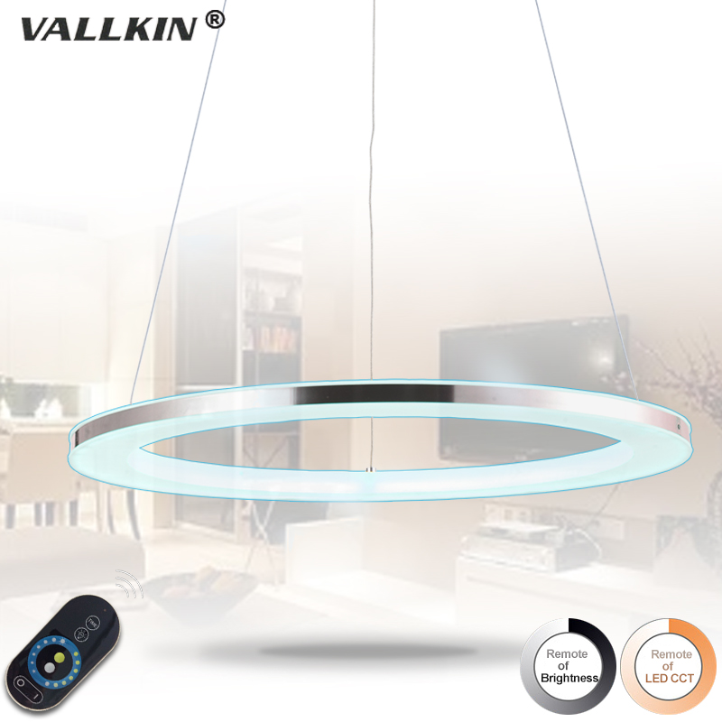 Modern Acylic LED Pendant Light Hanging Lamps Single Ring Indoor Home Lighting with 30W D80CM CE FCC VALLKIN dimmable pendant lights led crystal lighting hanging lamps indoor home light with remote control for hallway indoor home deco
