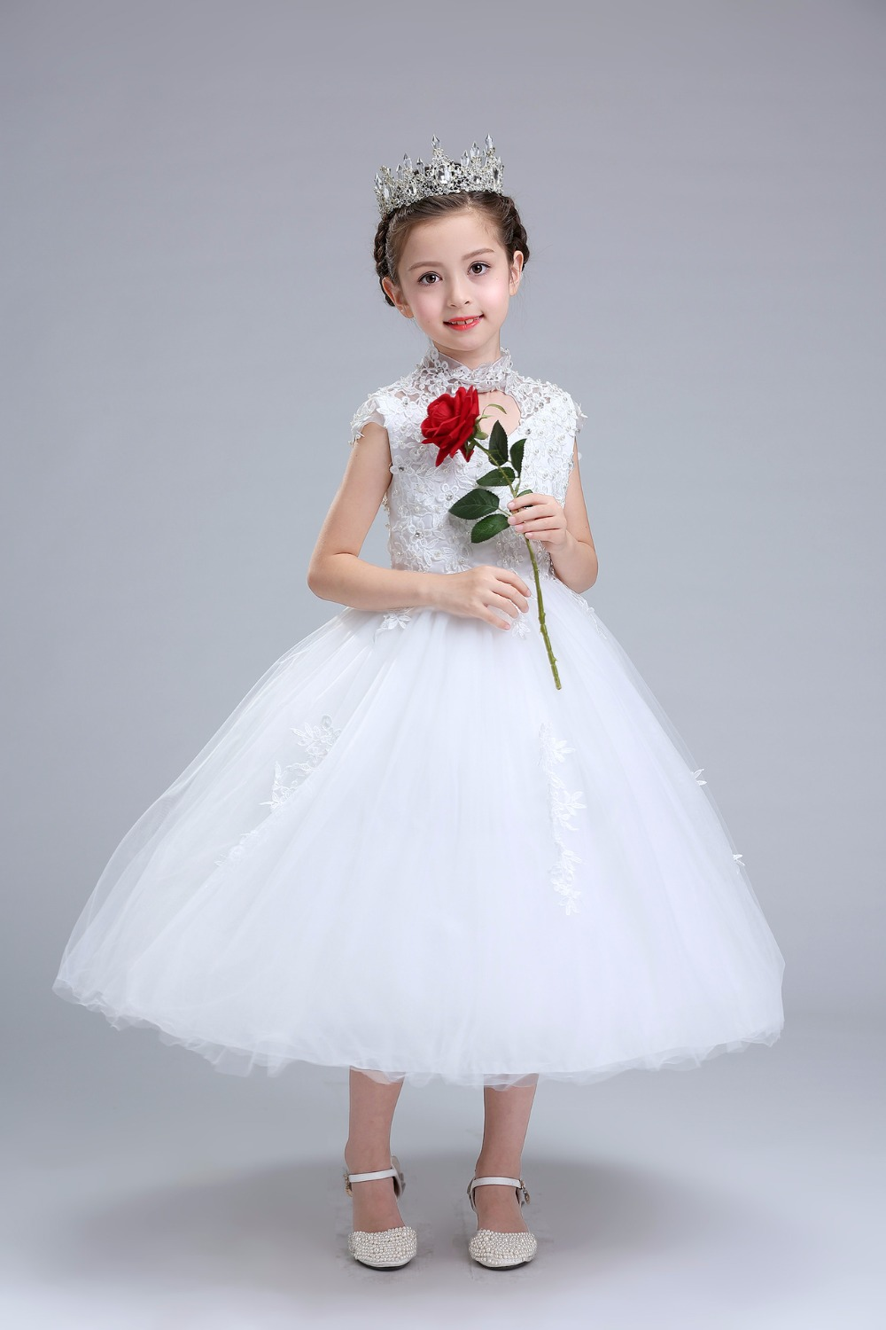 Glizt Sequin Girls Wedding Dresses 2017 New Bead White Tulle Princess Costume Girls Formal Ceremonies Party