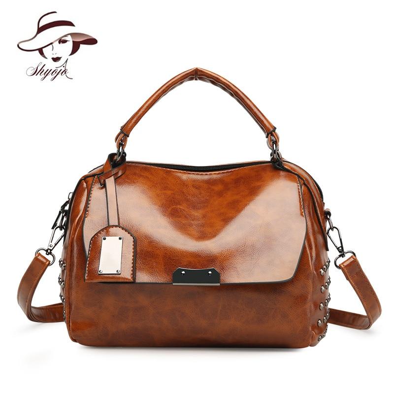 Vintage Casual Tote Oil Wax Leather Women Messenger Bags Large Capacity Rivet Boston Handbag Female Shoulder Bag Bolsa Feminina