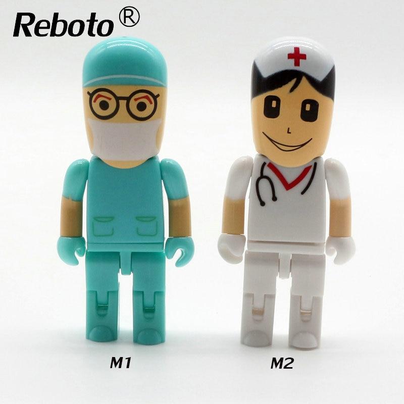 Пластиковый Синий доктор/белый медсестра usb flash drive Творческий ручка drive 4 ГБ 8 ГБ 16 ГБ memory stick 32 ГБ 64 ГБ pendrive u диск