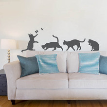 Cute Cats With Butterfly Room Decoration Playful Cat Animal Silhouette Home Decor Vinyl Art Design Poster Mural W370