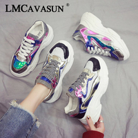 LMCAVASUN fashion sequin cloth mixed colors winter casual Women Sneaker high quality lady Non Slip PU shoes Flat sneakers L1900