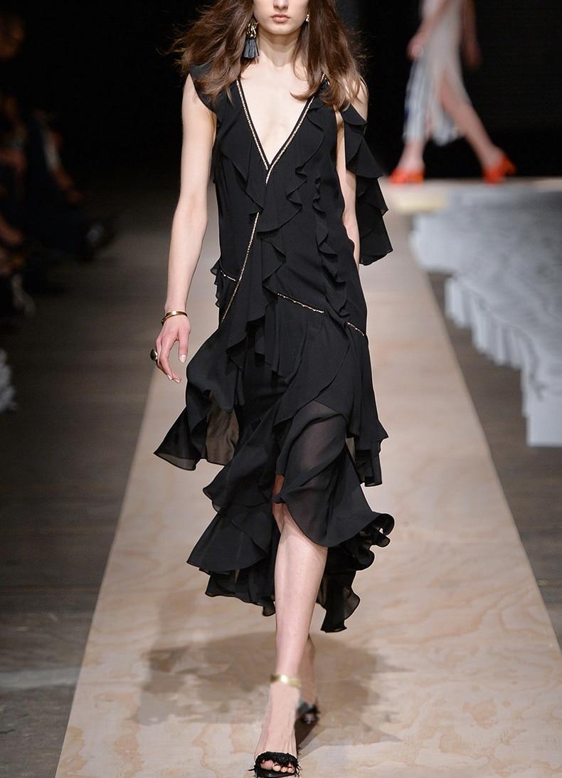 See Orange Black Dress Women Beach Dress Summer Party Deep V neck Butterfly Sleeve Bohemian Dress Asymmetrical