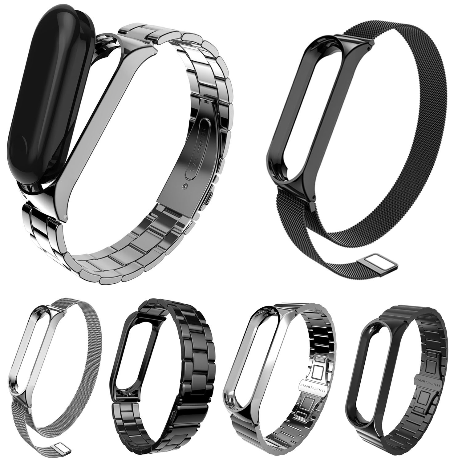 Mi Wrist Straps Metal for Xiaomi Mi Band 3 Screwless Stainless Steel Wristband Bracelet Smart Band Replace for Mi Band 3
