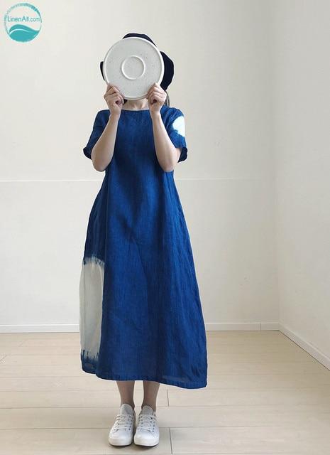 d51dec04b1219 US $276.89 |LinenAll Moonlight women's handmade plant blue dyed indigo  minimalist design textured 100% linen dress robe female-in Dresses from  Women's ...