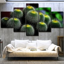 Wall Art Canvas HD Prints Greenery Painting Decor Framework 5 Piece Cactus Poster For Living Room Home Modular Pictures