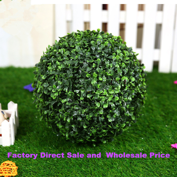 Factory sale plastic hanging green grass ball decoration for Artificial grass indoor decoration