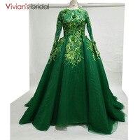 Vivian's Bridal Long sleeves Green Evening Dresses Long Ball Gown Prom Party Gowns Plus Size Vestido De Noche 2018