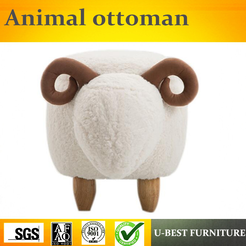 Free shipping U-BEST New Arrival Children Change Shoes Stool Design Wood Sheep Ottoman