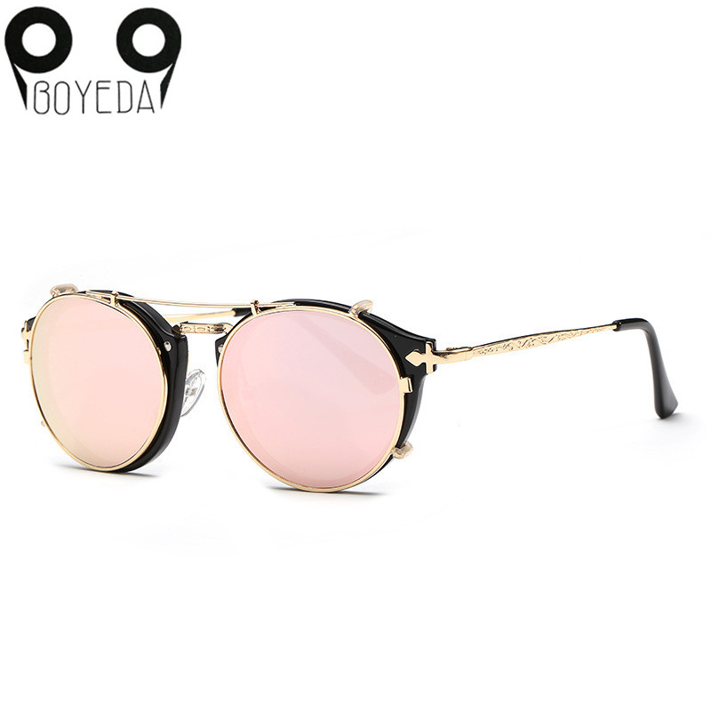 Steampunk Sunglasses Clip On Round Women BOYEDA For Vintage Unisex Retro Double-Flip