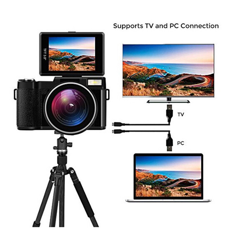 Digital Video Camera Full HD 1080P Portable Camcorders DV 3.0 Rotating LCD Touch Screen 16x Zoom 24MP Anti-shake Camcorder alloyseed 2 7 inch digital camera 8x optical zoom lens 24mp hd children camcorder video recorder anti shake photo dv