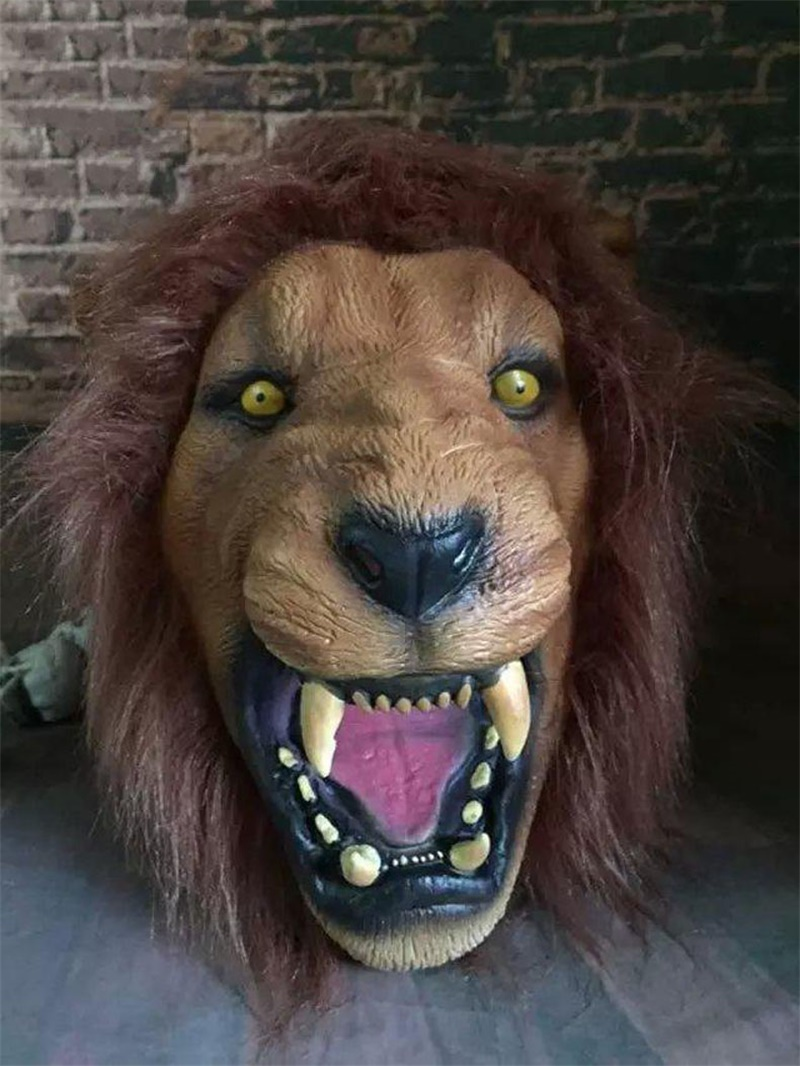 Halloween Props Men's Deluxe Adult Latex Lion Masks Animal Full Head Realistic Horror Masquerade Party Rubber Silicone Face Mask