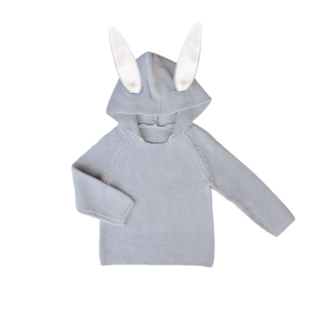Hot Sale Children Sweaters Rabbit Ears Boys Girls Sweater with Hooded Wool Cotton Knitwear Winter Infant Sweater Kids Clothing