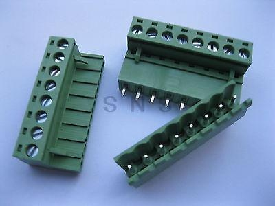 120 pcs 5.08mm Straight 8 pin Screw Terminal Block Connector Pluggable Green 3 pin curved screw terminal block connectors green 20 piece pack