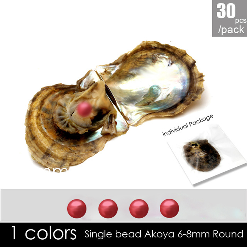 Wholesale 30pcs round akoya 6-7mm Red pearl with oyster vacuum-packed , popular oysters gifts влагостойкая встраиваемая акустика visaton fr 8 wp 4 black 1 шт