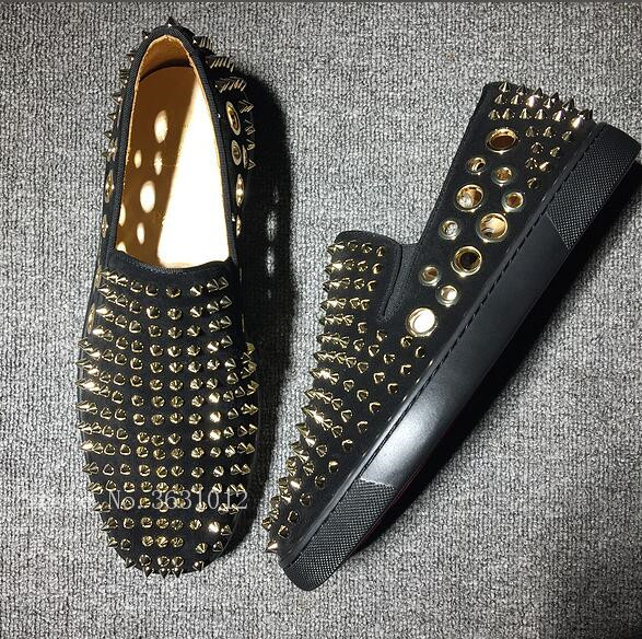 2018 Newest Gold Spikes Rivets Cut-outs Breathable Men Loafers Elastic Band Slip On Casual Shoes Mens Low Platforms Size 46 pl us size 38 47 handmade genuine leather mens shoes casual men loafers fashion breathable driving shoes slip on moccasins
