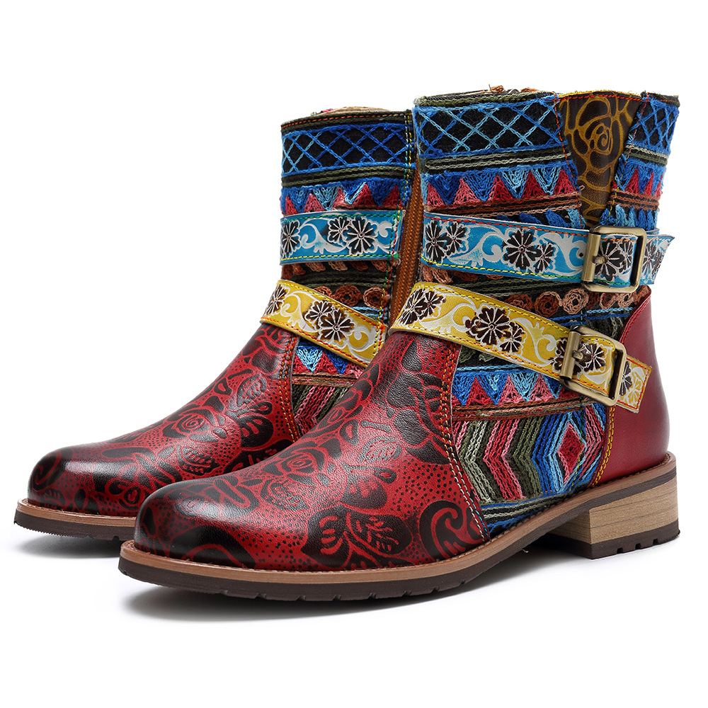 Johnature National Buckle 2019 New Genuine Leather Ankle Boots for Women Zip Autumn Ladies Shoes Woman