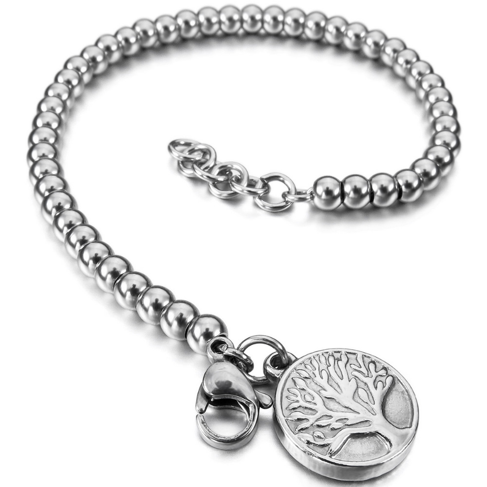 Women,Men's Stainless Steel Bracelet Link Wrist Silver Rose Gold Tone Tree Of Life Bead Adjustable Free Shipping