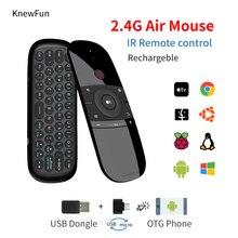 Kablosuz 2.4G Fly hava klavye fare şarj edilebilir uzaktan kumanda akıllı PC/TV kutusu Android Windows Mac OS linux programlanabilir