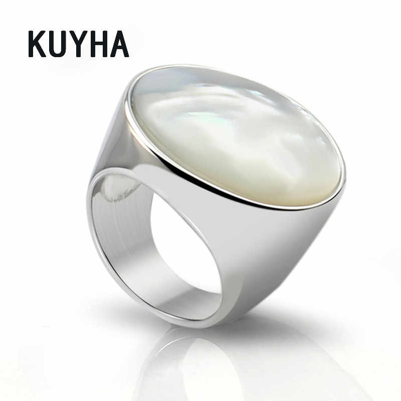Vintage simple big round White Pearl Opal Stone Rings stainless steel silver jewelry Delicate wedding Engagement rings for women