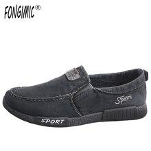 Новые мужские джинсовые повседневная обувь Лидер продаж Летняя обувь без застежки слипоны однотонная дышащая мягкая последние стили модная парусиновая обувь для мужчин