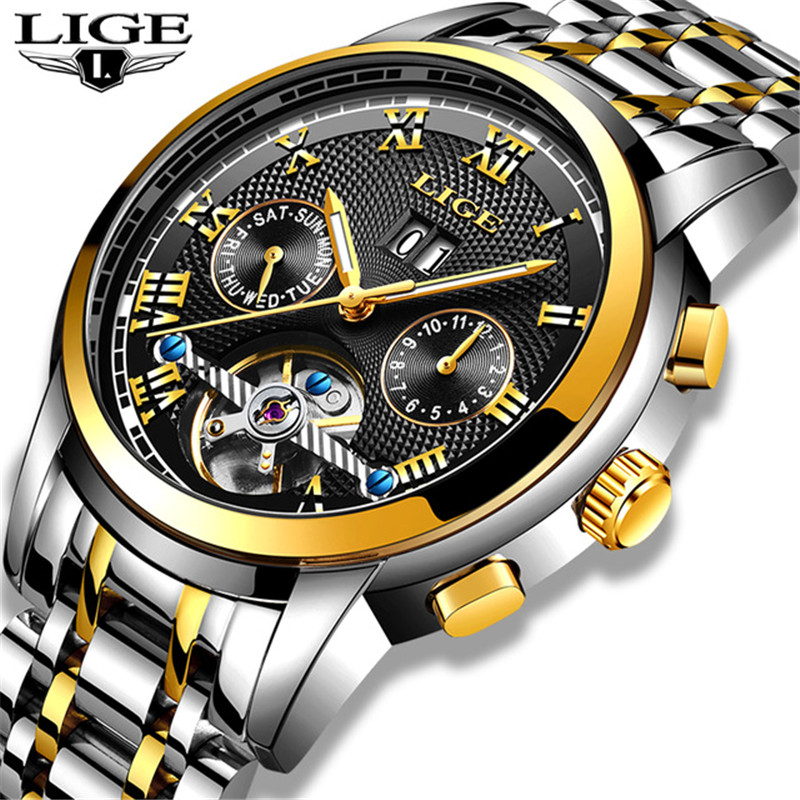 Montre pour homme LIGE Top Marque De Luxe Automatique montre mécanique Mâle Sport Horloge En Acier Plein montre étanche Hommes Relogio Masculino