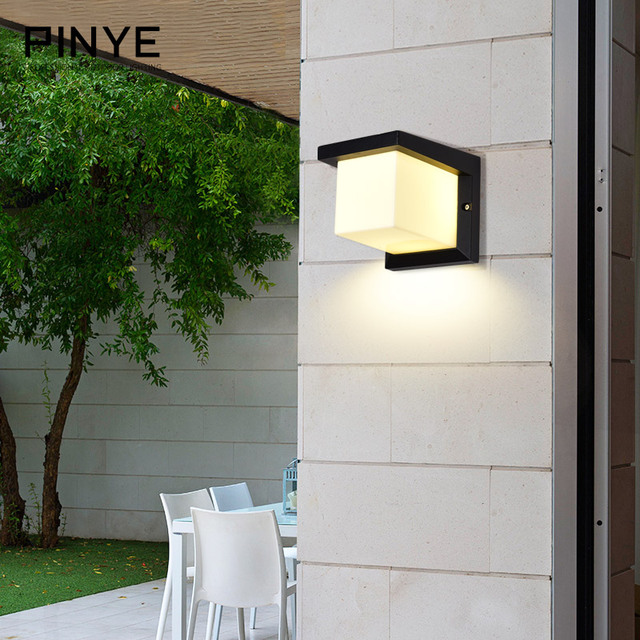 PINYE Modern LED Lamp 18W LED Wall Light Waterproof IP66 Porch Lamp Lighting Courtyard Garden Outdoor Light PY003