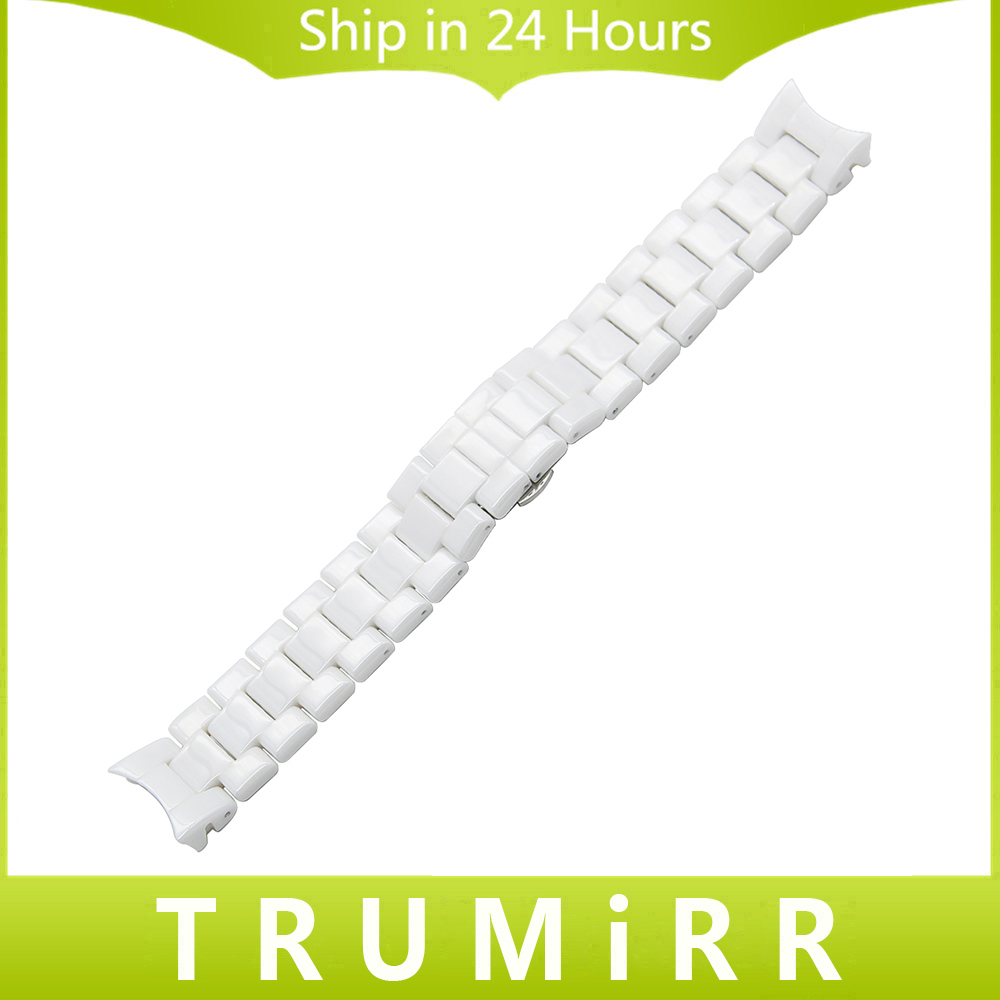 Curved End Ceramic Watchband 18mm 22mm for AR1452 AR1405 AR1442 AR1426 AR1468 Men Women Watch Band Wrist Strap Bracelet White adjustable wrist and forearm splint external fixed support wrist brace fixing orthosisfit for men and women