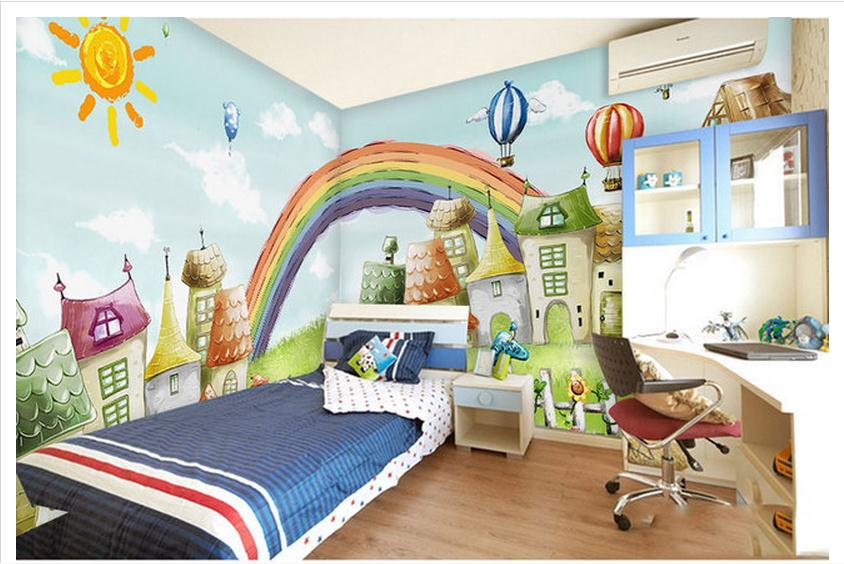 Us 13 1 50 Off Custom Mural 3d Non Woven Wallpaper Children Room Bedroom Cartoon Background Wall Rainbow Bridge House Children S Paintings In