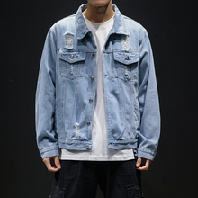 купить 2019 spring men's casual denim jacket hip hop denim jacket men's solid color casual jacket men's hole large size denim jacket по цене 676.71 рублей