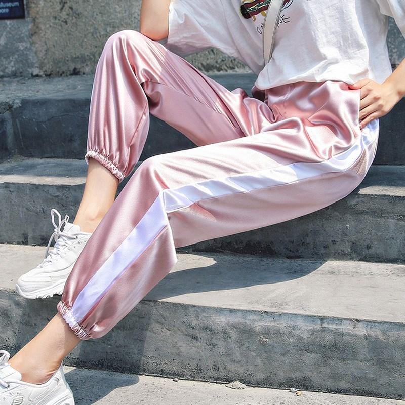 High Waist Sweatpants Harem   Pants   Women Joggers White Side Stripe Sports   Pants   Female   Capris   Streetwear Trousers Plus Size