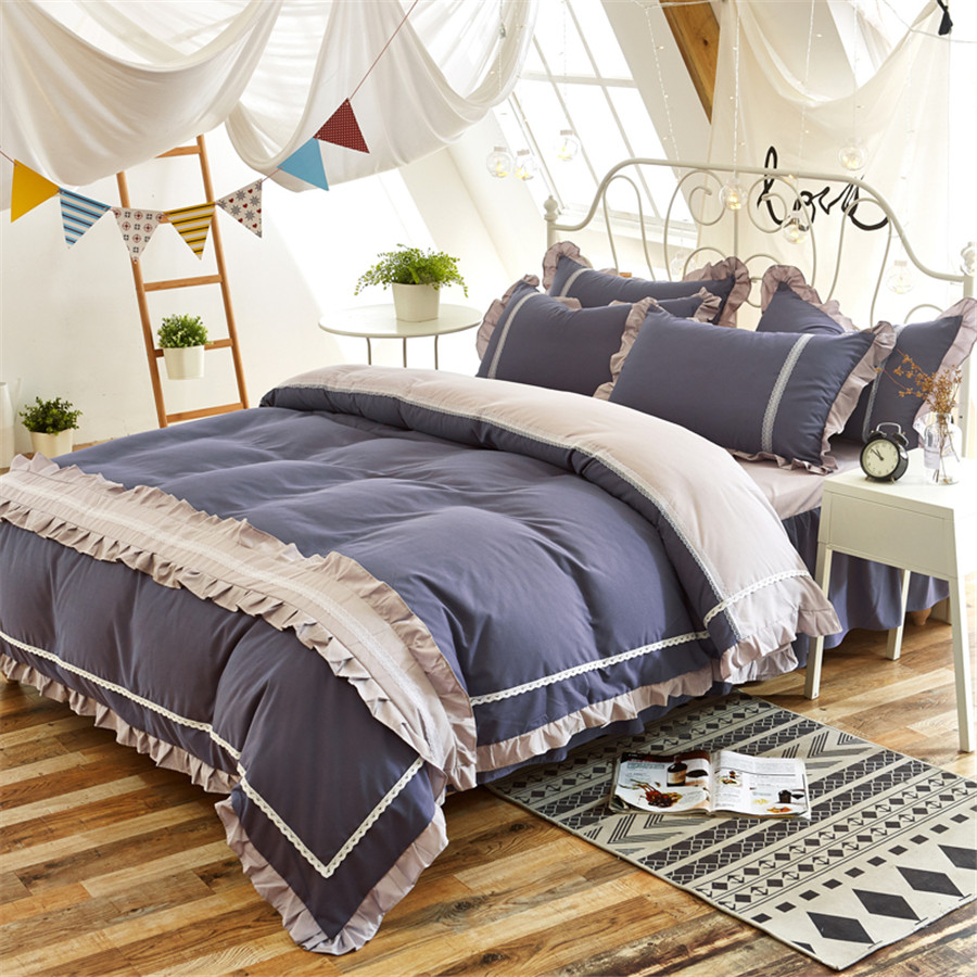 Korean princess bedding set gray ruffles quilt/duvet cover bowknot bed skirt king queen full size 4pcs adult/kid girl bedclothesKorean princess bedding set gray ruffles quilt/duvet cover bowknot bed skirt king queen full size 4pcs adult/kid girl bedclothes