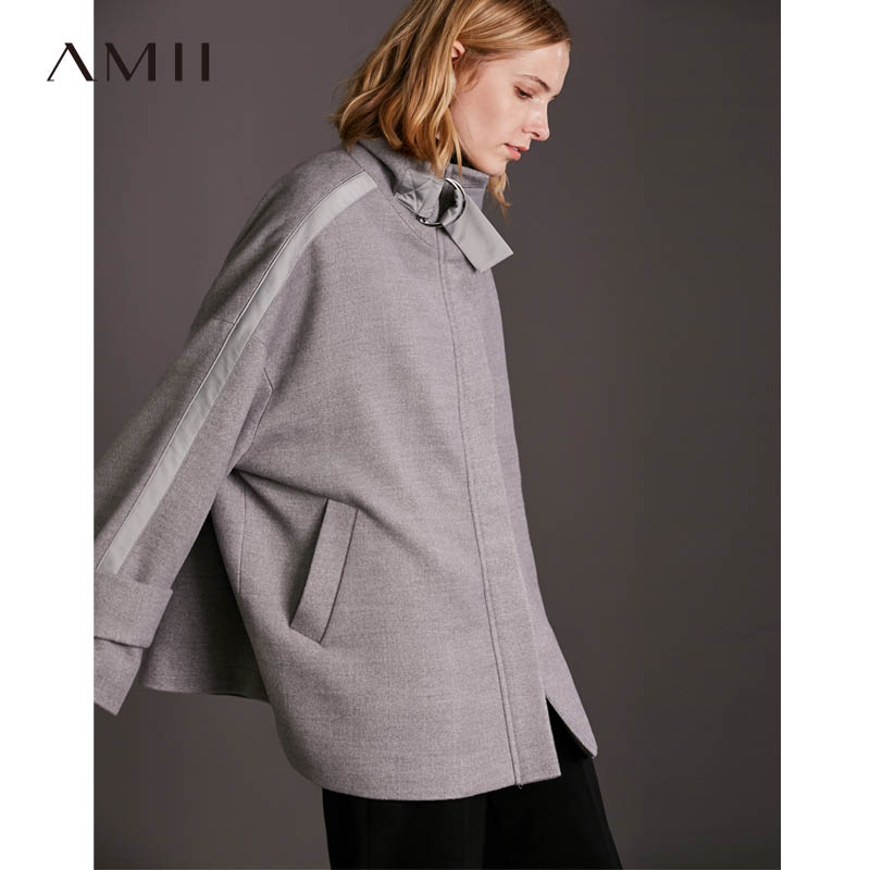 Amii Minimalist Oversized Woolen Coat Women Winter 2018 Causal Solid Loose Stand Collar Streetwear Female Coat