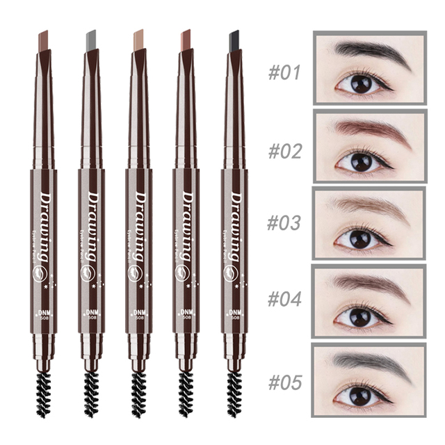 New Double-Ended 3D Eyebrow Pencil with Mascara Natural Eyebrow Tint Cosmetics Waterproof Pigment for Eyebrows Black Brown 1