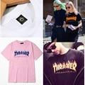 2016 Tee de Manga Curta Skate Thrasher T Shirt das mulheres Dos Homens Skates T shirts Tops Hip hop T camisa Homem homme Trasher T camisas
