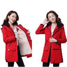 New Fashion Women's Army Green Large Raccoon fur Collar Hooded Long Coat Outwear Fur Lining Winter Jacket Hot SaleB260